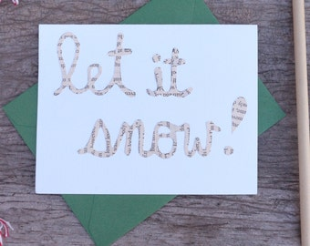 "Cutout ""Let It Snow"" Card, Hand-cut Cards on Vintage Paper, Holiday Cards, Let It Snow, Christmas Carol Cards"