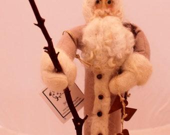 "Father Christmas Needle Felted Santa Mauve 14.5"""