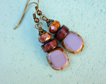 Dark Wood and Multicolored Fire Polished Glass on Rustic Brass Dangle Earrings: Indian Summer