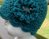 Scalloped hat with button for baby in four sizes - perfect for photo prop