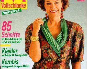 Burda Mode Vollschlanke (Full-Figured) Magazine - GERMAN Version - Patterns Included - Winter 1989