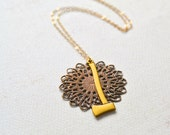 Gina Necklace - gold axe necklace, delicate weapon necklace, lumberjack necklace, filigree, autumn, handmade jewelry