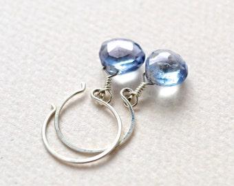 Azure Earrings - blue gemstone drop earrings, blue mystic quartz earrings, blue gem earring, azure blue earrings, DE12