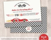 race car invitation and party collection. birthday invitation. printed.