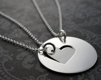 Mother Daughter Jewelry - Custom Cut Heart Necklace Set in Sterling Silver - Mother's Jewelry Gifts for Mom and Daughter
