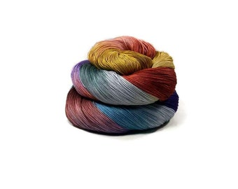 300 Yards Hand Dyed Cotton Crochet Thread Size 10 3 Ply Specialty Thread Terra Cotta Golden Yellow Blue Brown Hand Painted Fine Cotton Yarn