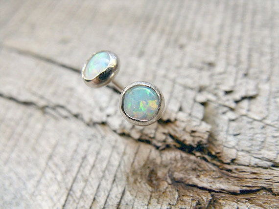 Opal Stud Earrings Sterling Silver