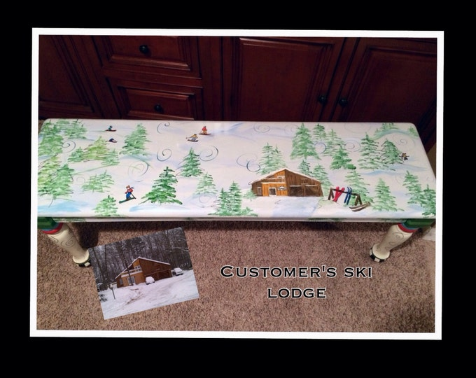 Whimsical Painted Furniture, Ski themed bench custom personalized custom designed hand painted winter