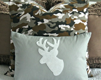 Modern Deer Silhouette Pillow Cover - White and Grey - 12x16