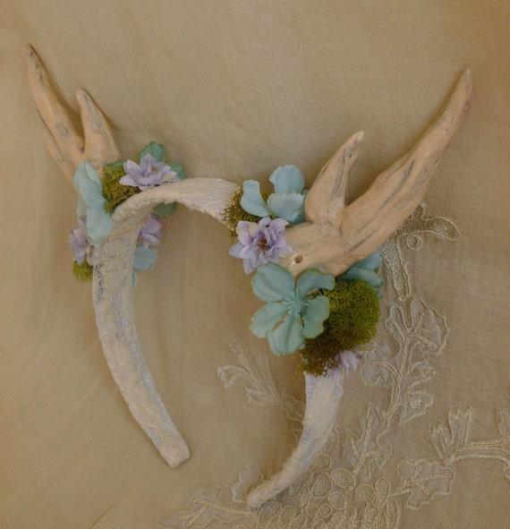 floral geweih stirnband hirsch reh wald whimsical hochzeit. Black Bedroom Furniture Sets. Home Design Ideas