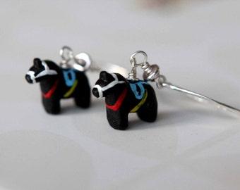 Dala Horse Earrings, Black Scandinavian Dangles,  Sterling Silver, Swedish Folklore