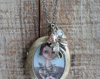 Antique Locket - the Tree Hugger - art jewelry by Kris G. Brownlee