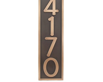 """Craftsman, Bungalow, Arts and Crafts vertical 6.5""""w x 23""""h for 4-5 House Numbers, Made in USA by Atlas Signs and Plaques"""