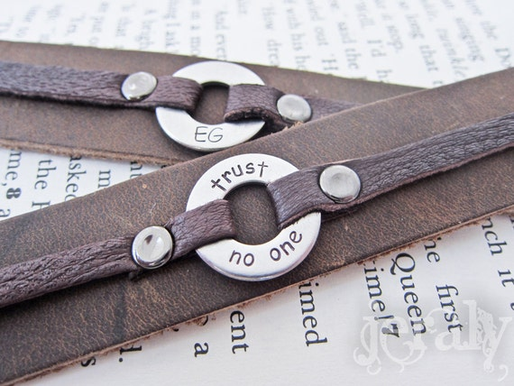 Custom Stamped Men's Leather Cuff Bracelet with Stainless Steel Washer, Brown or Black - Gift For Men, Father, Dad, Husband