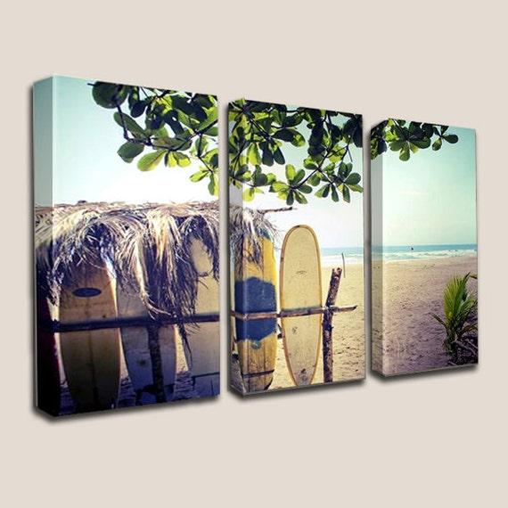 Surfboards Wall Canvas Art Tiki Hut Palm Trees By Joellejoy