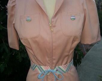 Flirty late 1930s playsuit mauve wool gabardine sizes M only