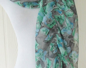 Floral Scarf , Womens Chiffon Scarf, Gray and Green, Floral Ruffled Scarf, Eclectasie
