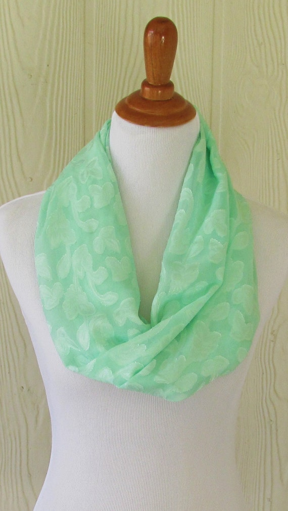 infinity scarf mint green floral weave s chiffon