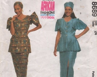 McCalls 8689 Misses Authentic African Skirt Peplum Blouse Hat Headwrap Pattern EMEABA Womens Sewing Size 24 Bust 46, 20, 16 or 22 or 18 UNCT