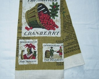 Vintage Thanksgiving Towel History of the American Cranberry