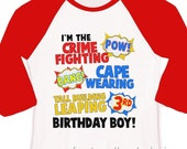 Superhero Birthday Shirt - fun comic book look birthday theme party shirt RAGLAN