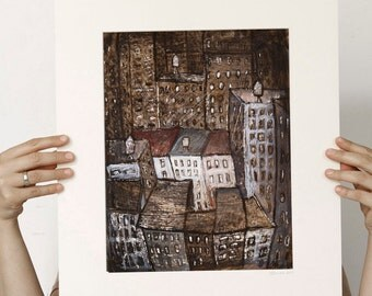 Downtown Manhattan - Original Mixed media painting, illustration, monotype, wall decoration,sepia, brown, monochromatic, New York City Art,