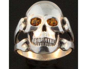 Skull Ring Sterling Silver Ring With Gemstones Citrine Eyes Skull Citrine Ring Mens Jewelry Skull Jewelry Mens Ring Pirate Costume Jewelry