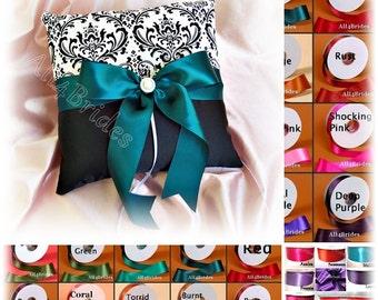 Madison Damask wedding pillow, ring bearer pillow, purple, teal, turquiose, hot pink, red, coral, lapis