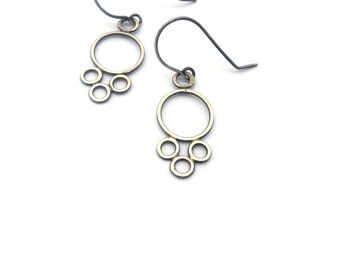 Small Delicate Eyelet Dangles, Sterling Silver Earrings, Oxidized Silver Earrings, Circle Earrings