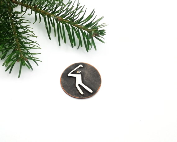 Clip Art Golf Ball Marker, Silver and copper, Gift for golfer