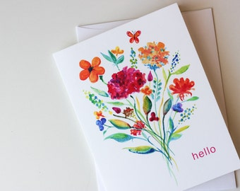 Hello Colorful Floral Greeting Card • Friendship • Any Occasion