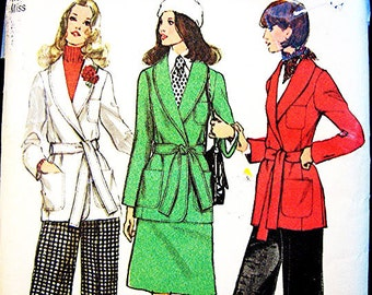 1970s Wrap Jacket Pattern Misses size 12 Womens Shawl Collar Princess Seam Jacket, A Line Skirt and Hgh Waisted Pants Vintage Sewing Pattern