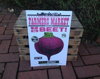 """Farmer's Market """"It Can't Be Beet"""" Beet Letterpress Poster"""