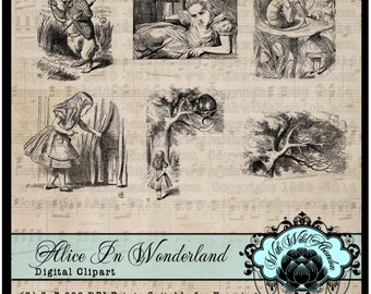 Alice in Wonderland , March Hare, White Rabbit, Mad Hatter, Cheshire Cat, John Tenniel, clipart, book plates