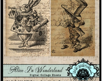 Alice in Wonderland , March Hare, White Rabbit, Mad Hatter, Cheshire Cat, John Tenniel, Printables