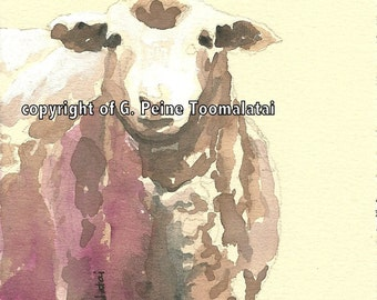 Sheep watercolor painting Lamb portrait original watercolor painting sheep art sheep painting lamb painting childrens room art