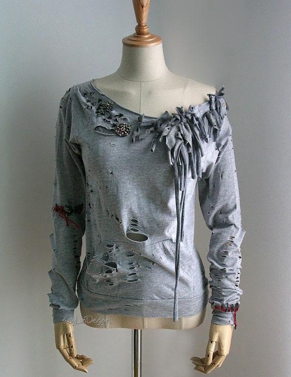 tattered t shirt upcycled t shirt long sleeve women. Black Bedroom Furniture Sets. Home Design Ideas