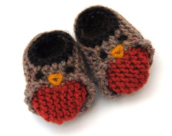 Wool Baby Robin Bird Slippers, Crib Shoes, Booties
