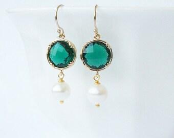 Emerald Green Crystal Pearl Drop Earrings