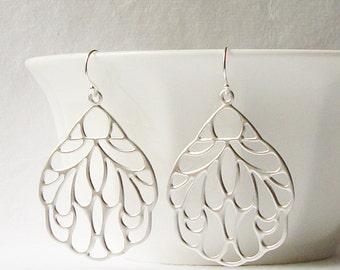 Silver Floral Earrings