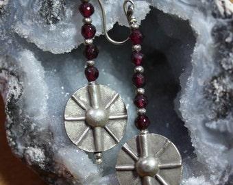 Red Garnet Silver Disk Tribal Earrings