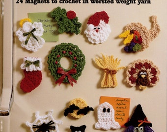 Holiday Fridgies Crochet Pattern Leaflet - PDF