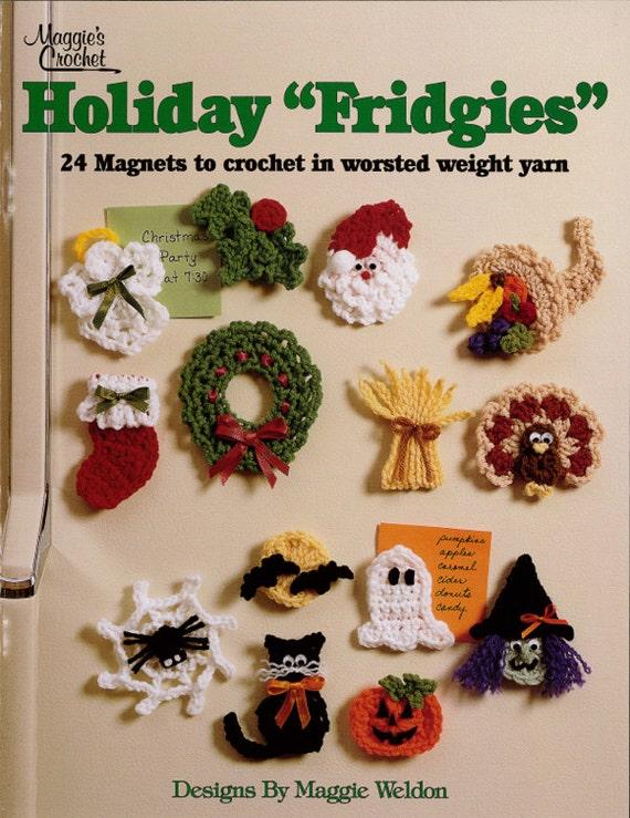 Free Crochet Pattern Leaflets : Holiday Fridgies Crochet Pattern Leaflet PDF