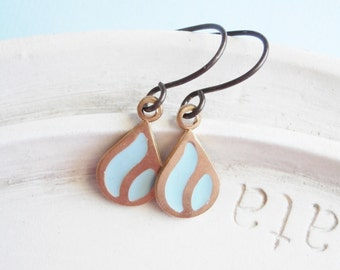 Metal Earrings - Enameled Aqua Charm Earrings