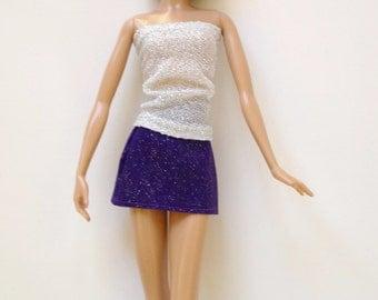 Handmade Barbie Clothes Mini skirt sparkle (Q319)