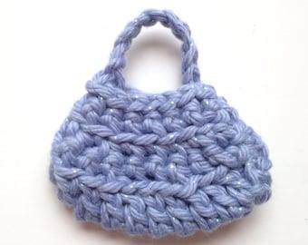 Handmade Barbie Clothes Purse Handbag Crochet Blue Sparkle (Q1923)