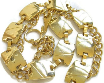 Vintage Gold Tone Rectangular Link and Chain Belt