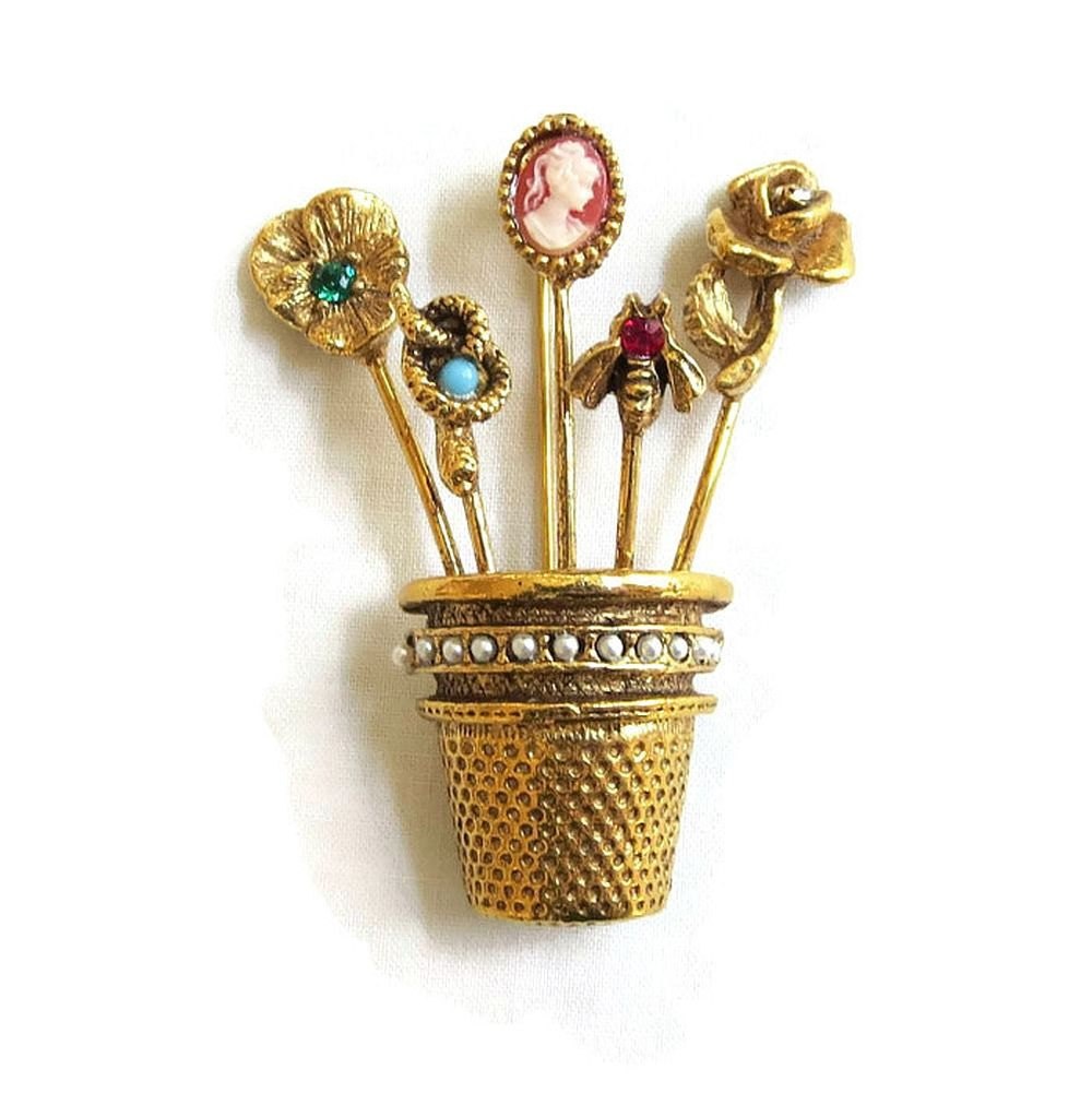 Victorian Hat Pins For The Old West Reenactor Or Steampunk: Vintage Thimble Hat Or Stick Pins Collection Brooch With