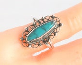 Turquoise Sterling Silver Ring Vintage Native American Long Oval Filigree Size 4