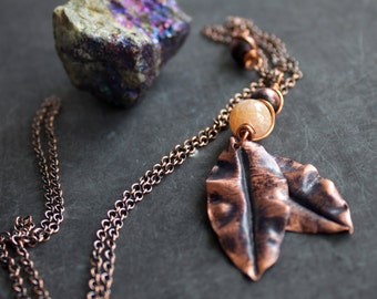 Fold Formed Copper Leaf Pendant Necklace Ruffle Leaves Purple Patina Peach Stone Long Metalwork Wire Wrap Woodland Garden Nature Jewellery